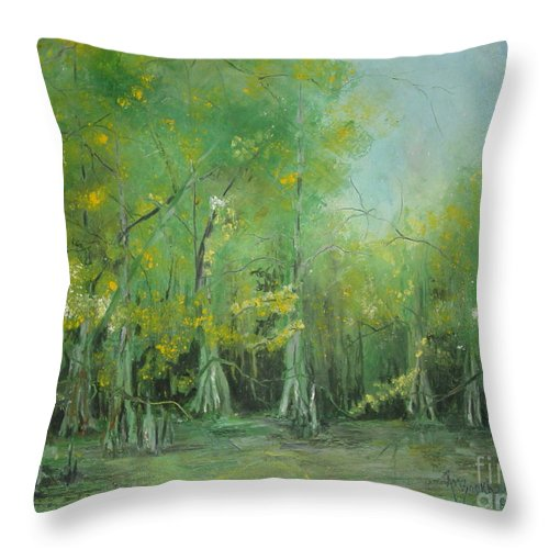 Cypress Knees Throw Pillow featuring the painting Fourche Creek Study Of Cyprus Trees by Robin Miller-Bookhout