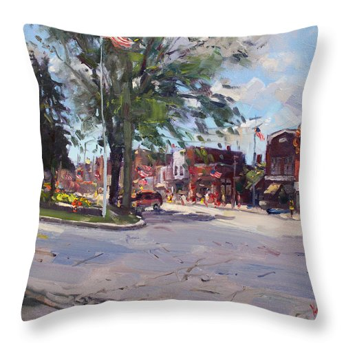 Fourth Of July Throw Pillow featuring the painting Fourth Of July In North Tonawanda by Ylli Haruni