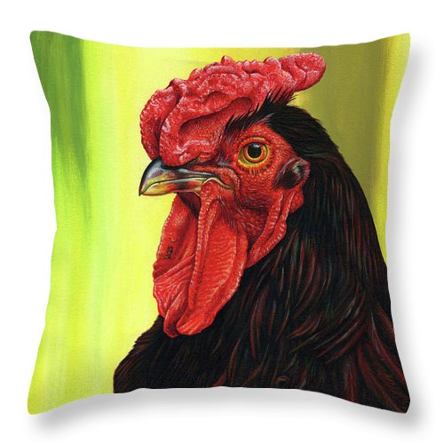 Rhode Throw Pillow featuring the painting Fowl Emperor by Cara Bevan