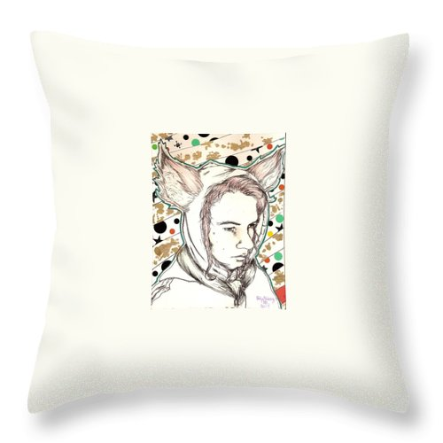 Ears Fow Star Boy Portrait Red Throw Pillow featuring the drawing Fox by Freja Friborg