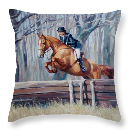 Jumping Horse Throw Pillow featuring the painting Fox Hunter by Laurie Snow Hein