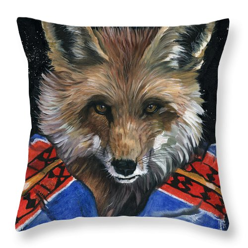 Fox Throw Pillow featuring the painting Fox Medicine by J W Baker