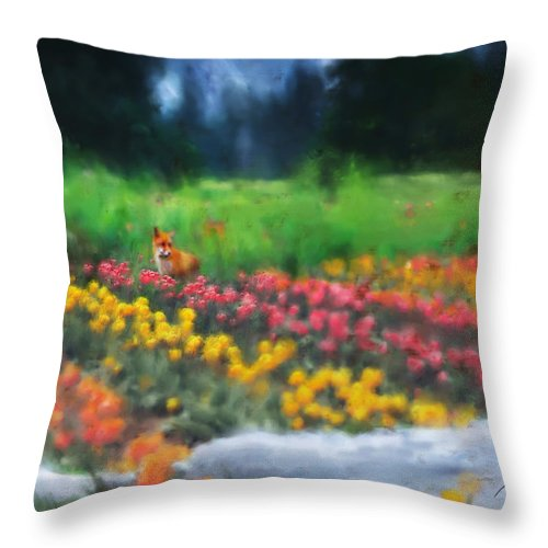 Fox Throw Pillow featuring the digital art Fox Watching The Tulips by Stephen Lucas