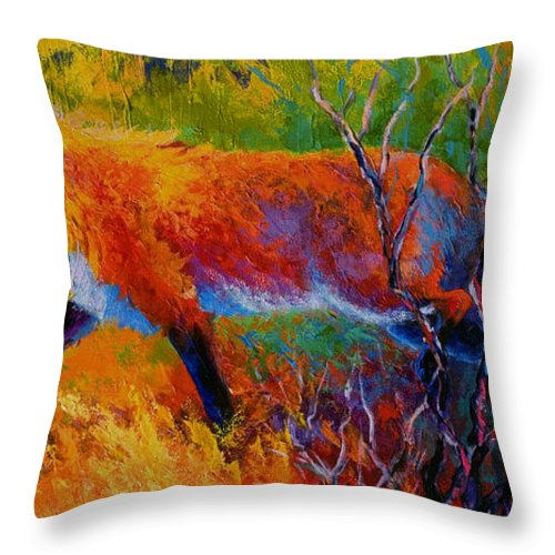 Red Fox Throw Pillow featuring the painting Foxy - Red Fox by Marion Rose