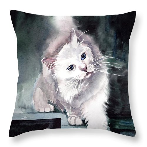 Little Throw Pillow featuring the painting Foxy Lady by Suzann Sines