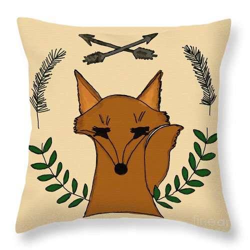 Fox Throw Pillow featuring the digital art Foxy by Priscilla Wolfe