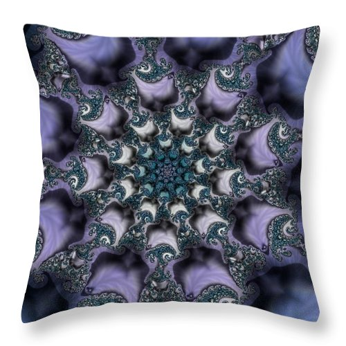 Fractal Rose Blossom Nature Life Organic Throw Pillow featuring the digital art Fractal 1 by Veronica Jackson