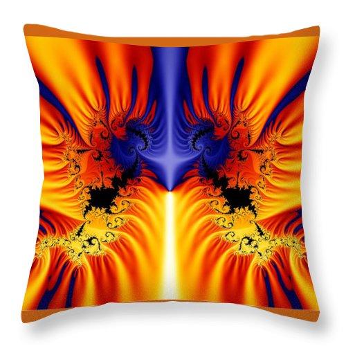 Digital Fractal Art Throw Pillow featuring the digital art Fractal 145 by Charmaine Zoe
