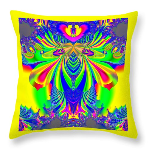 Psychedelic Love Explosion Throw Pillow featuring the digital art Fractal 31 Psychedelic Love Explosion by Rose Santuci-Sofranko