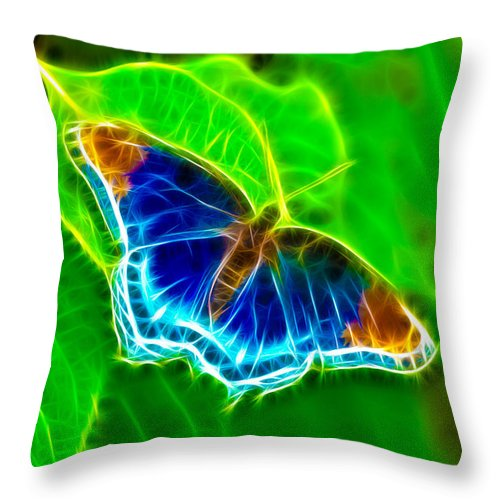Butterfly Throw Pillow featuring the photograph Fractal Butterfly by Rich Leighton