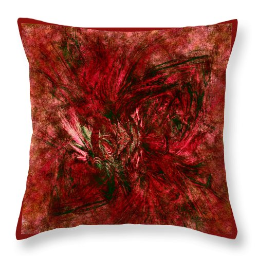 Christmas Throw Pillow featuring the digital art Fractal Christmas Bow by Diane Parnell