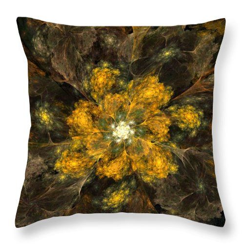 Digital Painting Throw Pillow featuring the digital art Fractal Floral 02-12-10 by David Lane