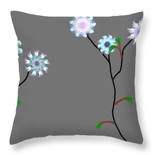 Digital Painting Throw Pillow featuring the digital art Fractal Floral 10-21-09 by David Lane
