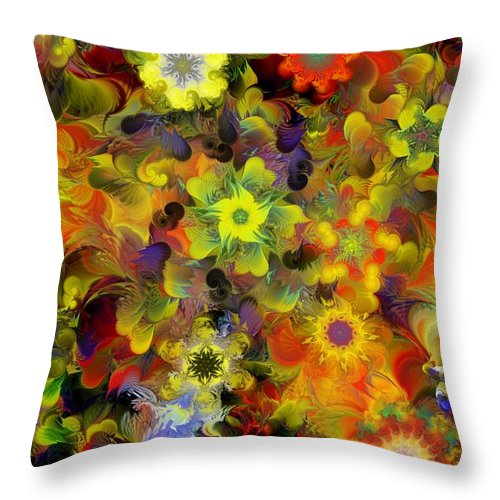 Digital Painting Throw Pillow featuring the digital art Fractal Floral Study 10-27-09 by David Lane
