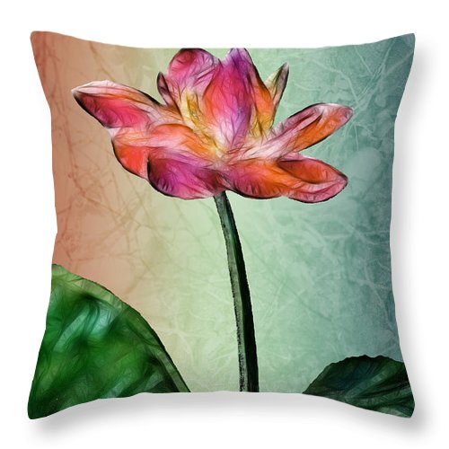 Flower Throw Pillow featuring the digital art Fractal Flower by Arline Wagner