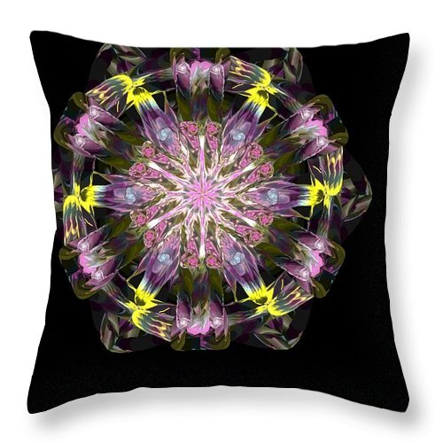 Digital Painting Throw Pillow featuring the digital art Fractal Flowers 10-20-09 by David Lane