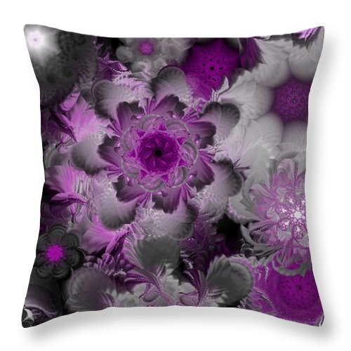 Abstract Digital Painting Throw Pillow featuring the digital art Fractal Garden 4 by David Lane