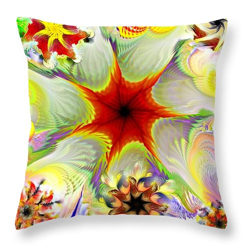 Abstract Digital Painting Throw Pillow featuring the digital art Fractal Garden 9 by David Lane
