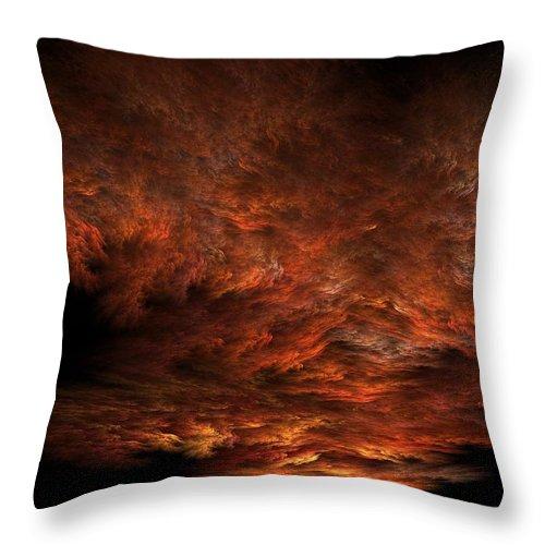 Apophysis Throw Pillow featuring the digital art Fractal Sunset by Lyle Hatch