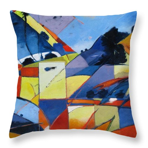 Angles Throw Pillow featuring the painting Fractured Landscape by Gary Coleman