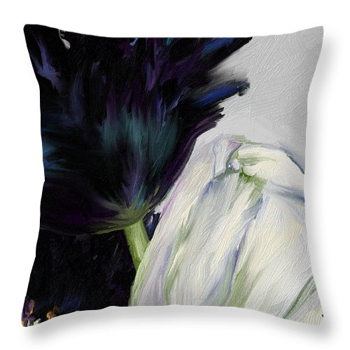 Black And White Tulips On Neutral Background Throw Pillow featuring the digital art Fragile by Vivi Sojorhn