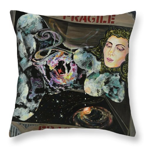 Love Throw Pillow featuring the painting Fragile by Yelena Tylkina