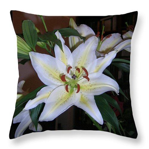 Flower Throw Pillow featuring the photograph Fragrant White Lily by Valerie Ornstein