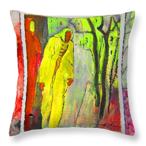 Acrylics Throw Pillow featuring the painting Framed by Miki De Goodaboom
