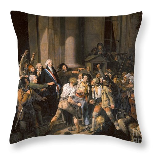 1793 Throw Pillow featuring the photograph France: Bread Riot, 1793 by Granger