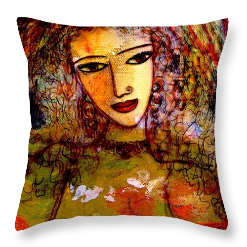 Sexy Woman Throw Pillow featuring the painting Francesca by Natalie Holland