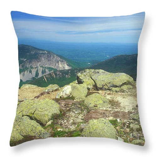 Franconia Notch Throw Pillow featuring the photograph Franconia Notch From Mount Lafayette by John Burk