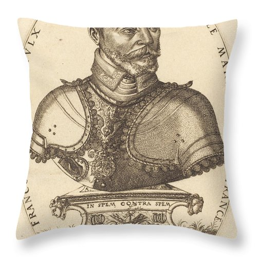 Throw Pillow featuring the drawing Francoys De Scepeaulx by Pierre Woeiriot