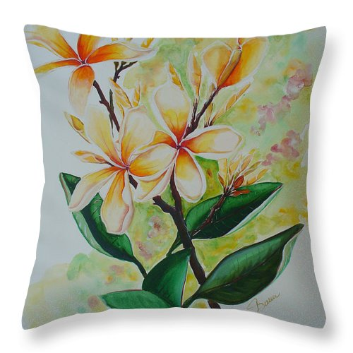 Throw Pillow featuring the painting Frangipangi by Karin Dawn Kelshall- Best