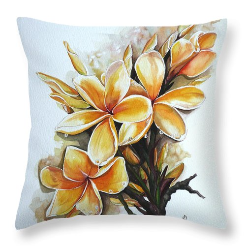 Caribbean Paintings Flower Paintings Floral Paintings  Throw Pillow featuring the painting Frangipangi  Sold by Karin Dawn Kelshall- Best