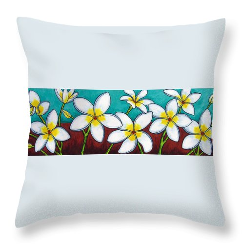 Frangipani Throw Pillow featuring the painting Frangipani Delight by Lisa Lorenz