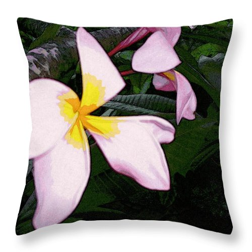 Flowers Throw Pillow featuring the digital art Frangipani Moment by Winsome Gunning