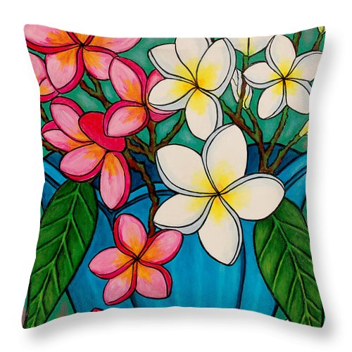 Frangipani Throw Pillow featuring the painting Frangipani Sawadee by Lisa Lorenz