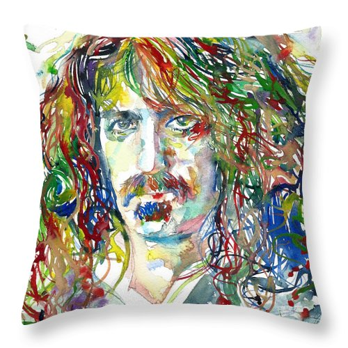 Frank Zappa Throw Pillow featuring the painting Frank Zappa by Fabrizio Cassetta