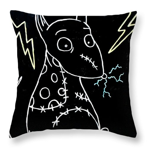 Halloween Throw Pillow featuring the painting Frankenweenie Sparky Uv by Marisela Mungia