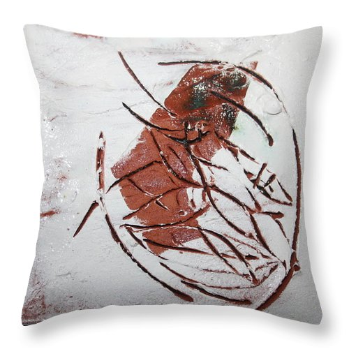 Jesus Throw Pillow featuring the ceramic art Frankie - Tile by Gloria Ssali
