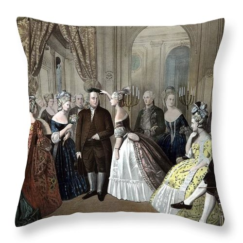 Benjamin Franklin Throw Pillow featuring the painting Franklin's Reception At The Court Of France by War Is Hell Store
