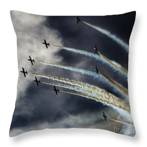 Frecce Tricolori Throw Pillow featuring the photograph Frecce Tricolori by Angel Ciesniarska