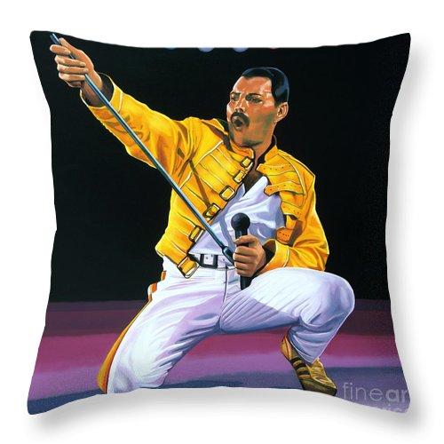 Freddie Mercury Throw Pillow featuring the painting Freddie Mercury Live by Paul Meijering