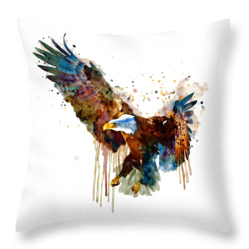 Bird Throw Pillow featuring the painting Free And Deadly Eagle by Marian Voicu