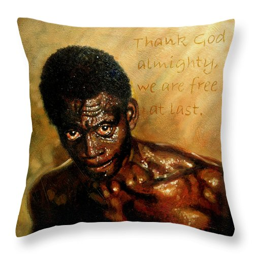 People Throw Pillow featuring the painting Free At Last by John Lautermilch
