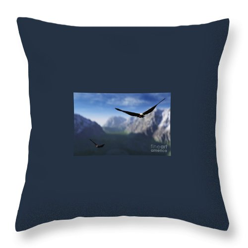 Eagles Throw Pillow featuring the digital art Free Bird by Richard Rizzo