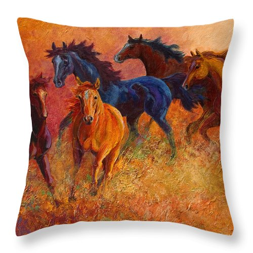 Horses Throw Pillow featuring the painting Free Range - Wild Horses by Marion Rose