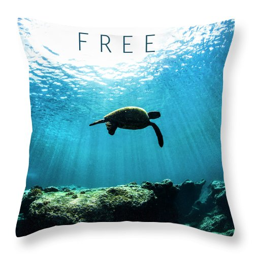 Under Water Throw Pillow featuring the photograph Free. by Sean Davey