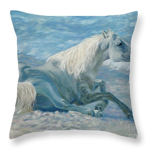 Seascape Throw Pillow featuring the painting Free Spirit by Danielle Perry