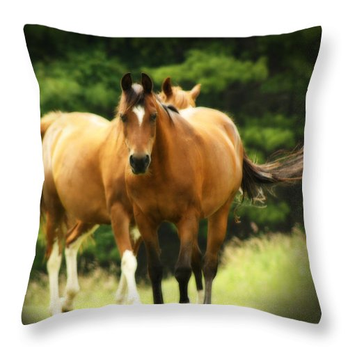 Horses Throw Pillow featuring the photograph Free Spirits by Cathy Beharriell
